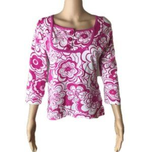 Cable & Gauge pink & white floral sweater